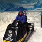 sal & kai on the ski doo in the cool room!