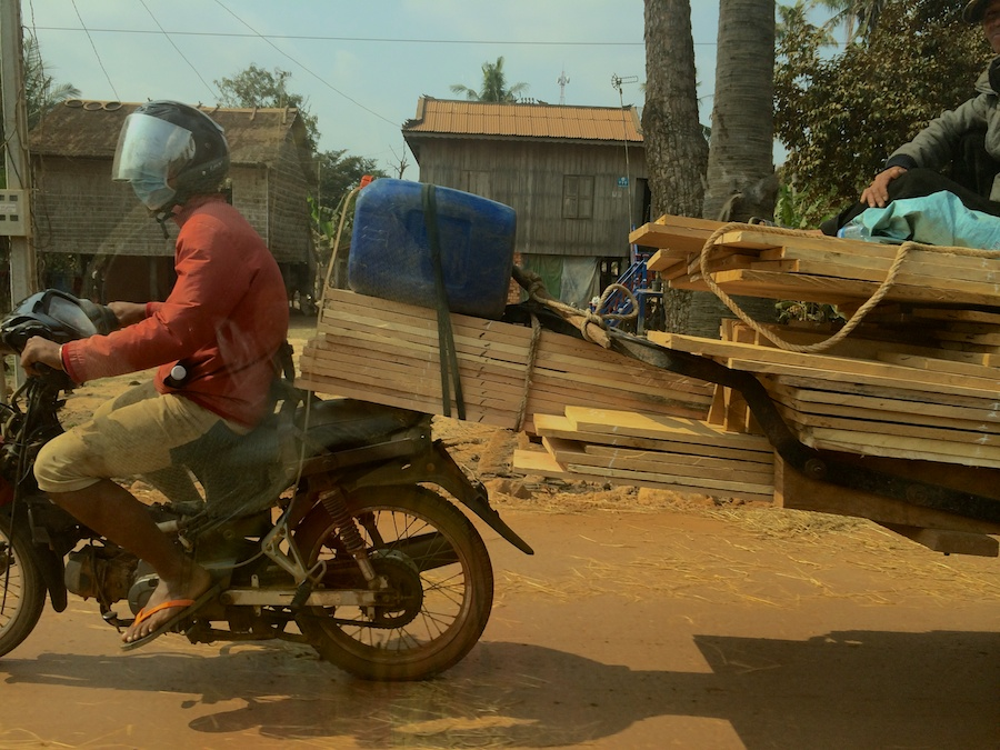 motorbike with timber