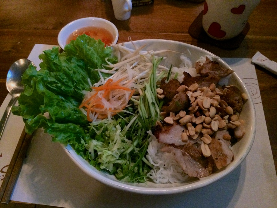 pork with noodles & salad