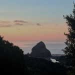 lion rock in the foreground with Piha creek wrapping around it