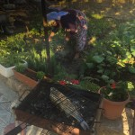 on the grill with mum tending the garden - real life!