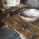 butchers block, table and bowl in kitchen