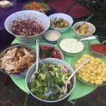 roast duck salad, roast chook etc,