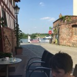 Sseligenstadt, at the cafe looking down to the river main and car ferry