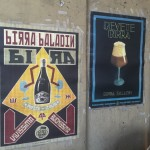 posters on a bar