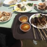 satay, dumplings, prawn roll, stir fry fish etc.