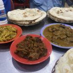 vege curry, dry beef curry, mutton curry, naan & lassi