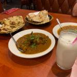Goat Masala, garlic naan & tandoori roti with salty lassi