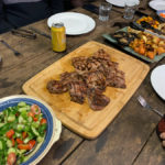 char grilled steaks, salad & roast vege